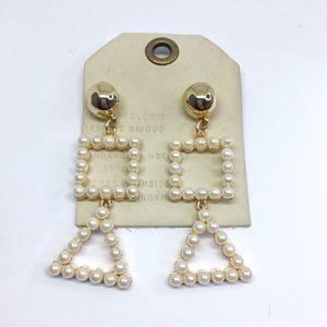 NWT Anthropologie pearl hoop earrings
